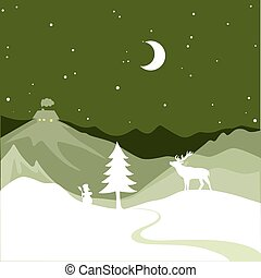 Christmas design - snowy path leads