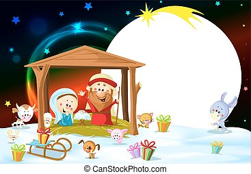 Nativity in Bethlehem with animals