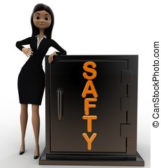 3d woman with safty locker concept on white background,...