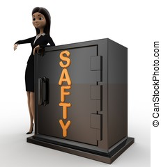 3d woman with safty locker concept on white background, side...
