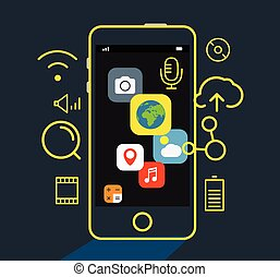 Modern mobile applications concept