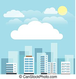 Abstract city buildings illustration set. Flat design presentation template