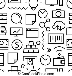 Different business seamless pattern. Lineart concept