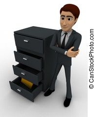 3d man with file drawer concept