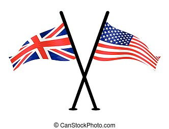 United Kingdom and USA vector flags