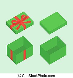 Christmas Box - Green open box for gifts with red bow...