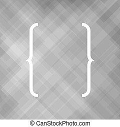 Curly Bracket Icon Isolated on Grey Background