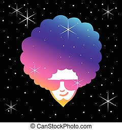 Funky Frizzy - Simple illustration of man face with frizzy...