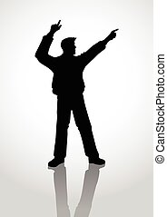 Hooray - Silhouette of a person hands up, pointing fingers