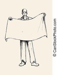 Flag Bearer - Sketch illustration of a man holding a banner