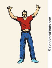 Hooray - Sketch of a person hands up, doing thumbs up