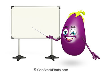 Cartoon character of brinjal fruit with display board - 3d...