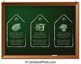 Hand drawn discount labels on chalkboard