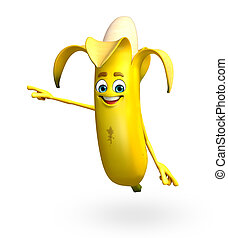 Cartoon character of banana fruit - 3d rendered illustration...