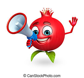 Cartoon character of pomegranate fruit with loudspeaker - 3d...