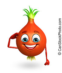 Cartoon character of onion - 3d rendered illustration of...