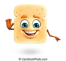 Cartoon character of bread - 3d rendered illustration of...