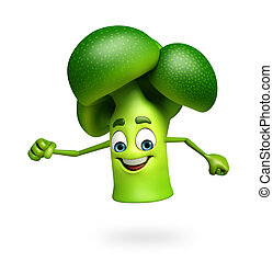 Cartoon character of broccoli fruit - 3d rendered...