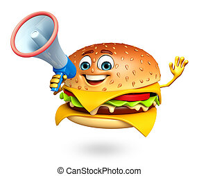 Cartoon character of burger with loudspeaker - 3d rendered...