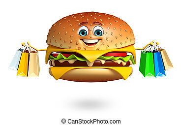 Cartoon character of burger with shopptng bag - 3d rendered...