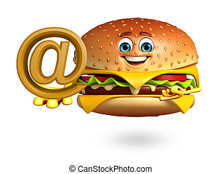 Cartoon character of burger with at the rate sign - 3d...