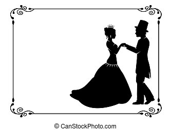 loving couple in period costumes - silhouettes of men and...