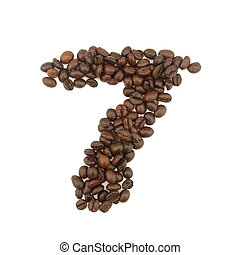 7 number made with coffee beans on a white background