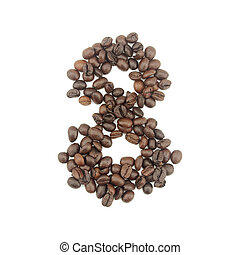 8 number made with coffee beans on a white background