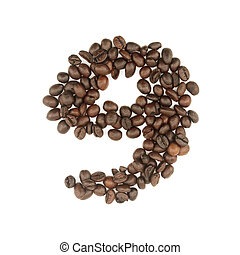 9 number made with coffee beans on a white background