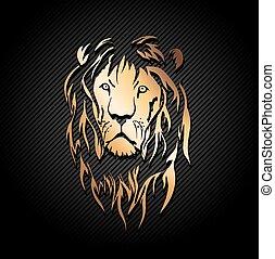 Gold Lion - Illustration of Gold Lion Head Over Dark...