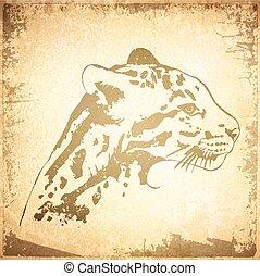 Jaguar Backround - Illustration of Grunge Jaguar Vintage...