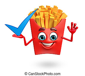 Cartoon character of french fries with yes - 3d rendered...