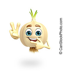 Cartoon character of garlic - 3d rendered illustration of...