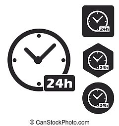 24 hours icon set, monochrome, isolated on white