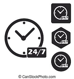 Overnight daily icon set, monochrome, isolated on white
