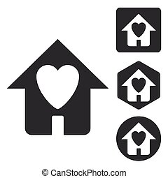 Love house icon set, monochrome