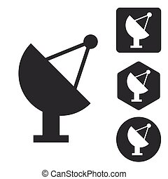 Satellite dish icon set, monochrome, isolated on white