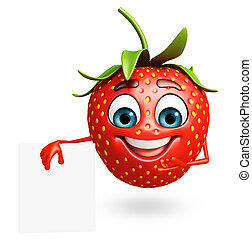 Cartoon character of strawberry with sign - 3d rendered...
