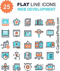 Web Development - Abstract vector collection of flat line...