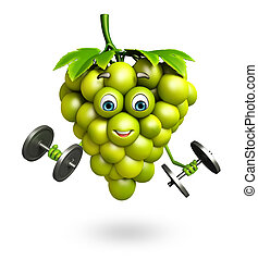 Cartoon character of grapes with weights - 3d rendered...