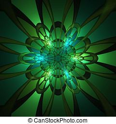 Abstract ornament - Abstract green fractal ornament on black...