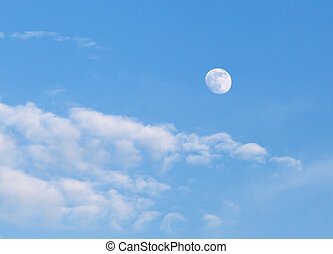 Blue sky with clouds and moon - Full Moon on Blue Sky with...