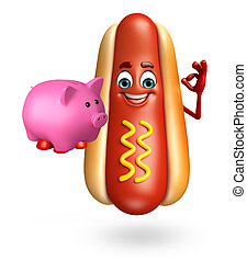 Cartoon character of hot dog with piggy bank - 3d rendered...