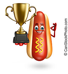 Cartoon character of hot dog with trophy - 3d rendered...