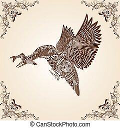 Kingfisher Bird Thai Pattern Vector