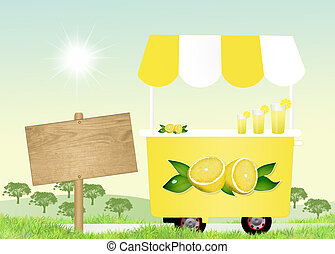 lemonade cart - illustration of lemonade cart