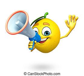 Cartoon character of lemon with loudspeaker - 3d rendered...