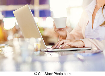 Young businesswoman working on notebook in cafe