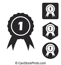 First place icon set, monochrome