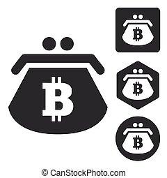 Bitcoin purse icon set, monochrome